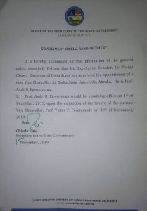 Gov. Okowa Appoints A New VC For The Delta State University