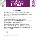 Uniben SUG Mourn The Demised Of 500 Level Pharm Student That Died in Lagos Gas Explosion